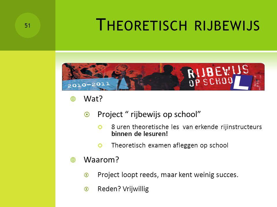"""T HEORETISCH RIJBEWIJS  Wat?  Project """" rijbewijs op school"""" 8 uren theoretische les van erkende rijinstructeurs binnen de lesuren! Theoretisch exam"""