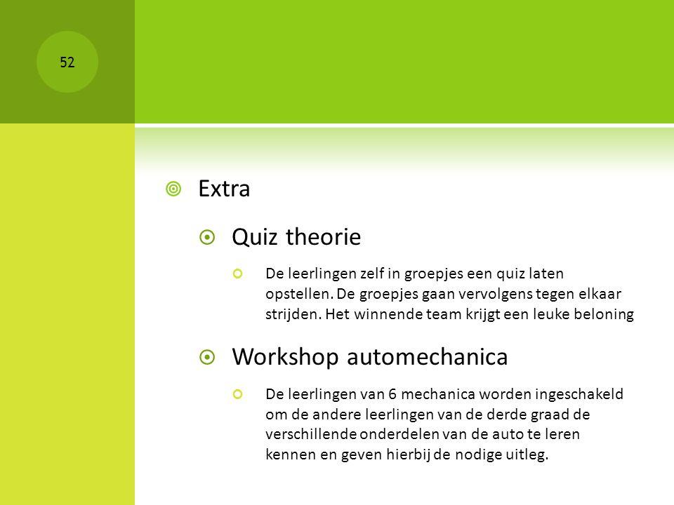  Extra  Quiz theorie De leerlingen zelf in groepjes een quiz laten opstellen. De groepjes gaan vervolgens tegen elkaar strijden. Het winnende team k