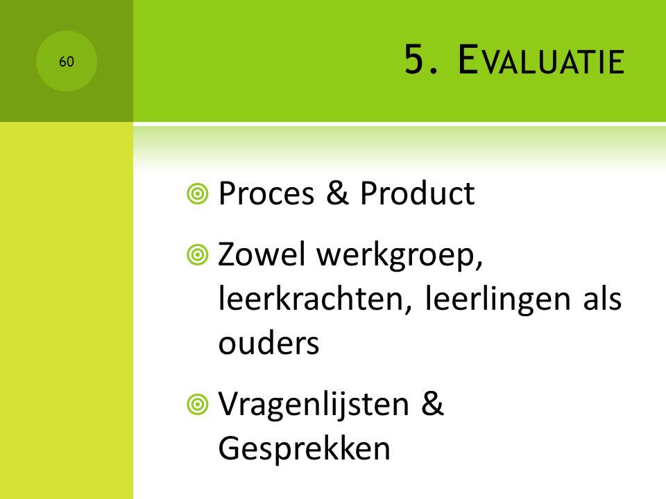5. E VALUATIE  Proces & Product  Zowel werkgroep, leerkrachten, leerlingen als ouders  Vragenlijsten & Gesprekken 60