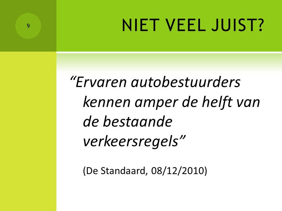 """NIET VEEL JUIST? """"Ervaren autobestuurders kennen amper de helft van de bestaande verkeersregels"""" (De Standaard, 08/12/2010) 9"""
