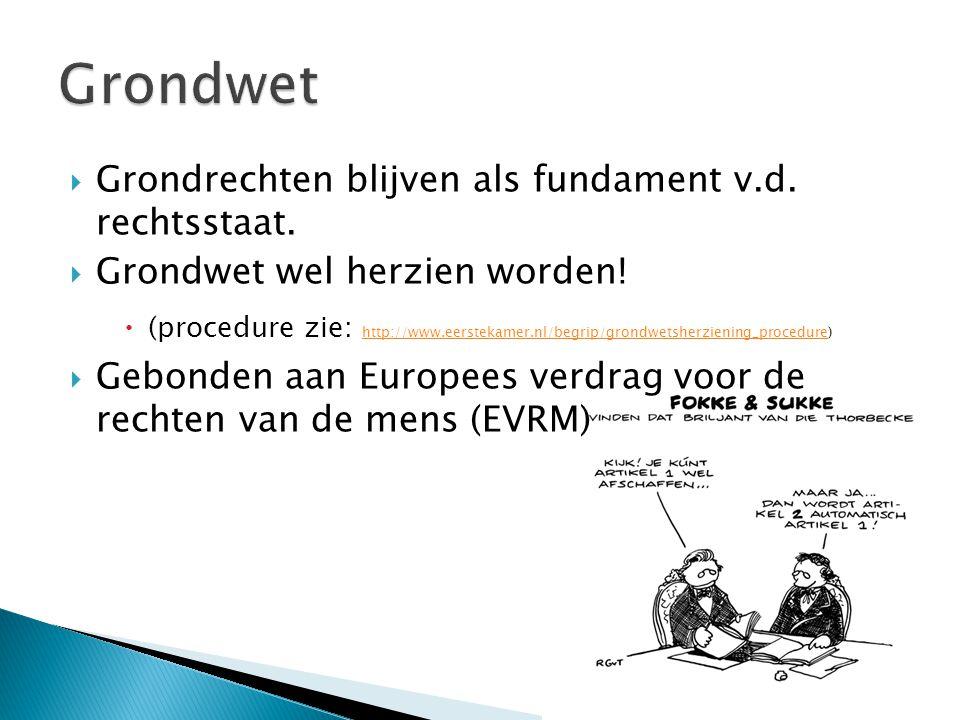  Grondrechten blijven als fundament v.d. rechtsstaat.  Grondwet wel herzien worden!  (procedure zie: http://www.eerstekamer.nl/begrip/grondwetsherz