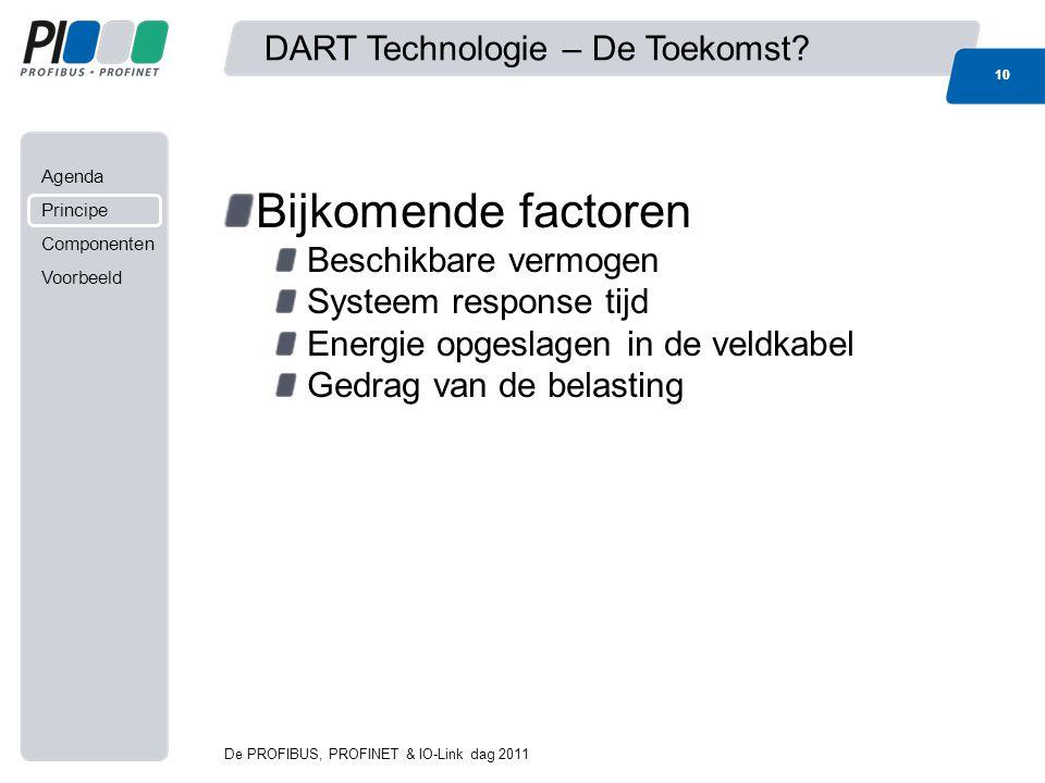 Agenda Principe Componenten Voorbeeld Bijkomende factoren Beschikbare vermogen Systeem response tijd Energie opgeslagen in de veldkabel Gedrag van de belasting 10 DART Technologie – De Toekomst.