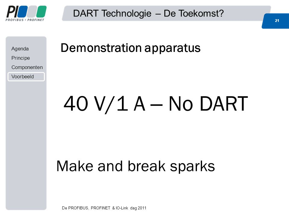 Agenda Principe Componenten Voorbeeld Demonstration apparatus Make and break sparks 40 V/1 A – No DART 21 DART Technologie – De Toekomst? 21 De PROFIB