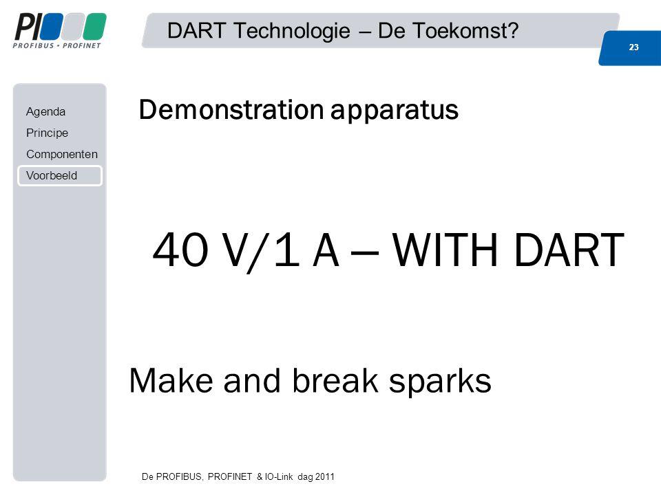 Agenda Principe Componenten Voorbeeld DART Technologie – De Toekomst? 23 Demonstration apparatus Make and break sparks 40 V/1 A – WITH DART 23 De PROF