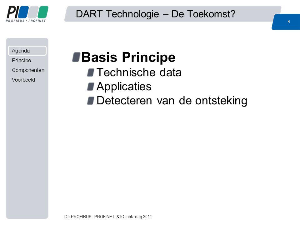 Agenda Principe Componenten Voorbeeld De PROFIBUS, PROFINET & IO-Link dag 2011 4 DART Technologie – De Toekomst? Basis Principe Technische data Applic
