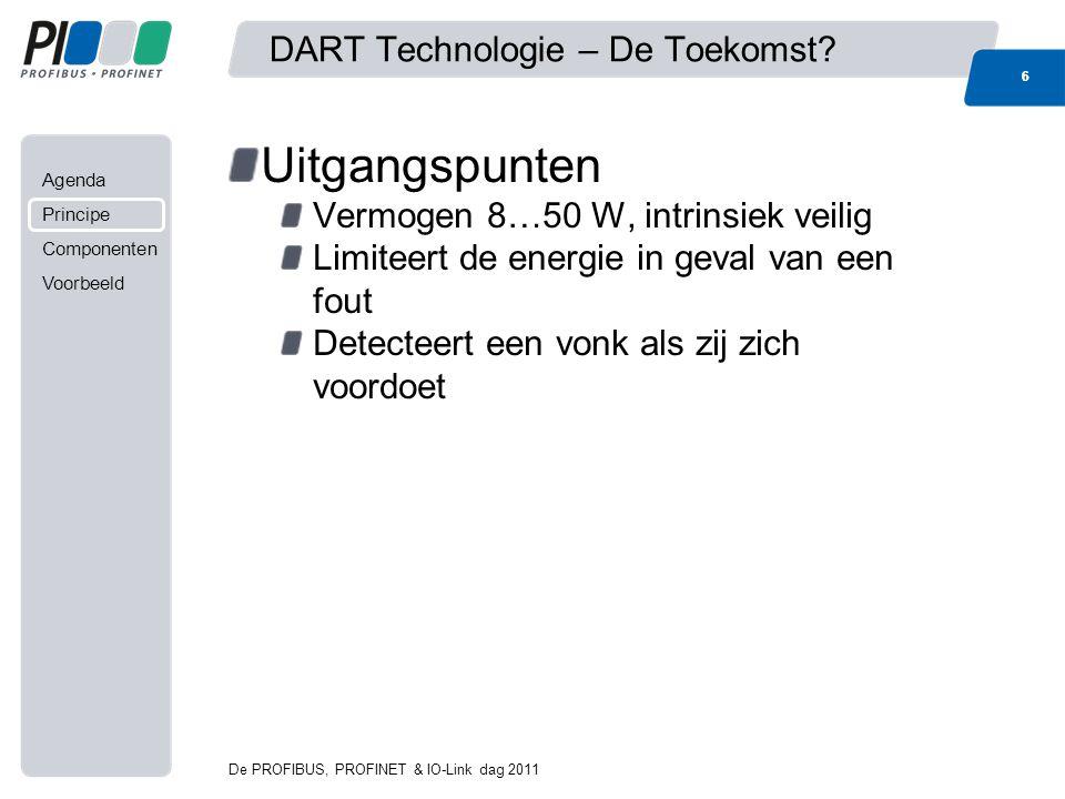 Agenda Principe Componenten Voorbeeld DART Technologie – De Toekomst? Uitgangspunten Vermogen 8…50 W, intrinsiek veilig Limiteert de energie in geval