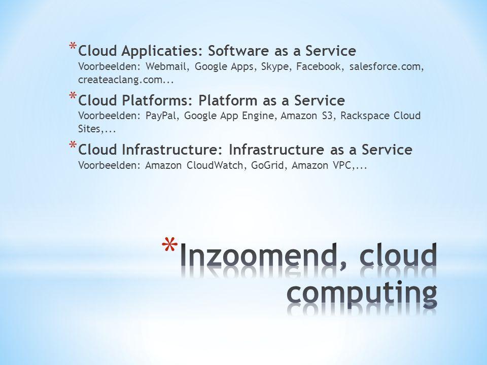 * Cloud Applicaties: Software as a Service Voorbeelden: Webmail, Google Apps, Skype, Facebook, salesforce.com, createaclang.com... * Cloud Platforms: