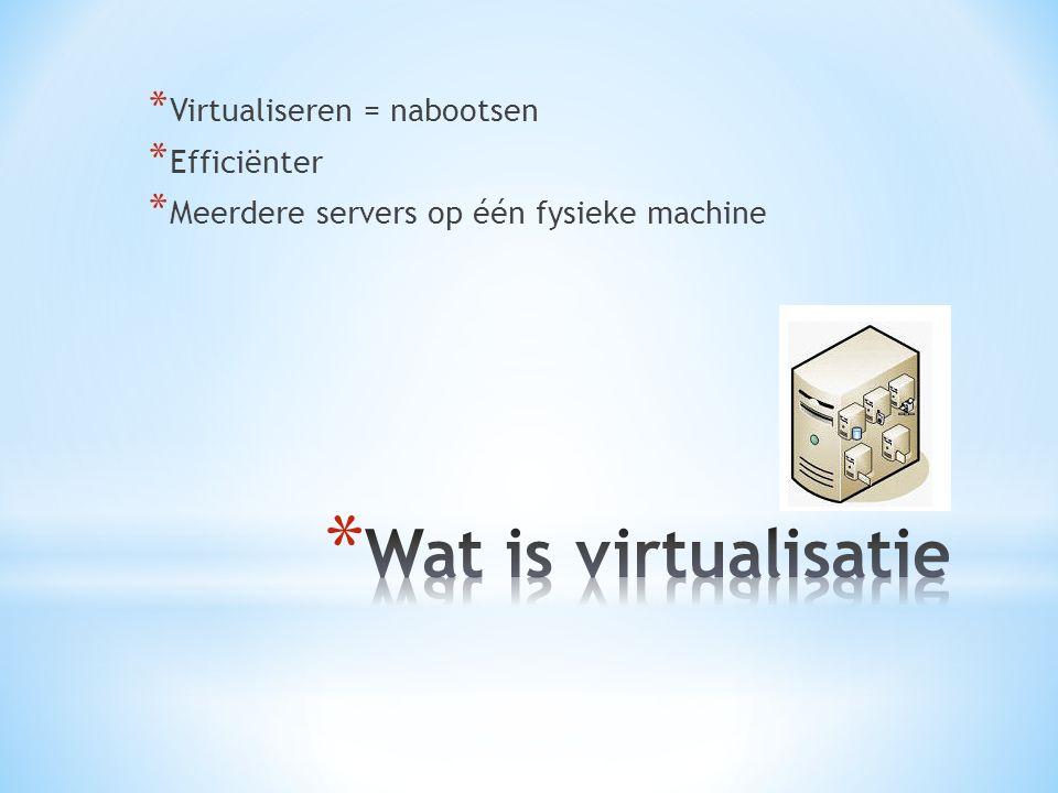 * Virtualiseren = nabootsen * Efficiënter * Meerdere servers op één fysieke machine