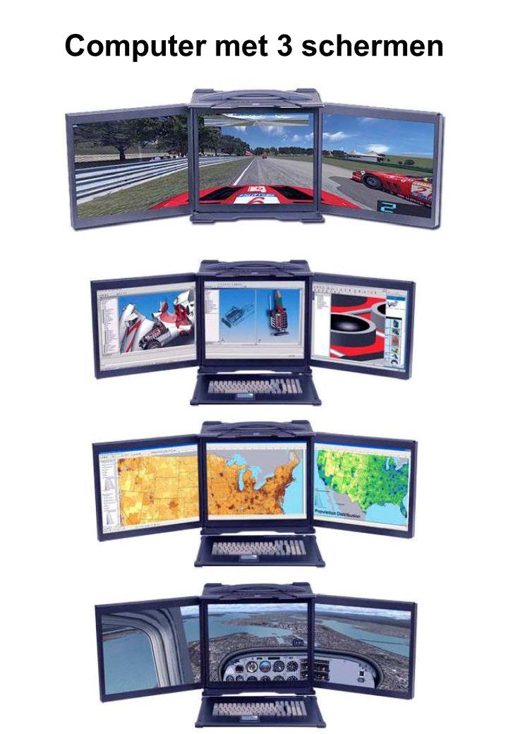 Computer met 3 schermen
