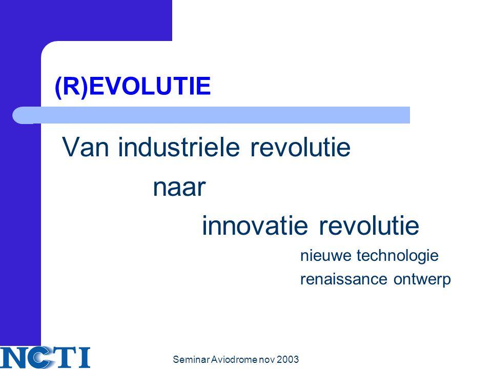 Seminar Aviodrome nov 2003 (R)EVOLUTIE Van industriele revolutie naar innovatie revolutie nieuwe technologie renaissance ontwerp