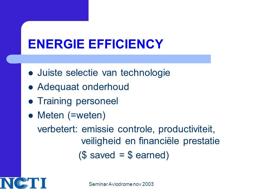 Seminar Aviodrome nov 2003 ENERGIE EFFICIENCY Juiste selectie van technologie Adequaat onderhoud Training personeel Meten (=weten) verbetert: emissie controle, productiviteit, veiligheid en financiële prestatie ($ saved = $ earned)