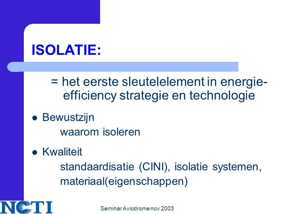 Seminar Aviodrome nov 2003 ISOLATIE: = het eerste sleutelelement in energie- efficiency strategie en technologie Bewustzijn waarom isoleren Kwaliteit standaardisatie (CINI), isolatie systemen, materiaal(eigenschappen)