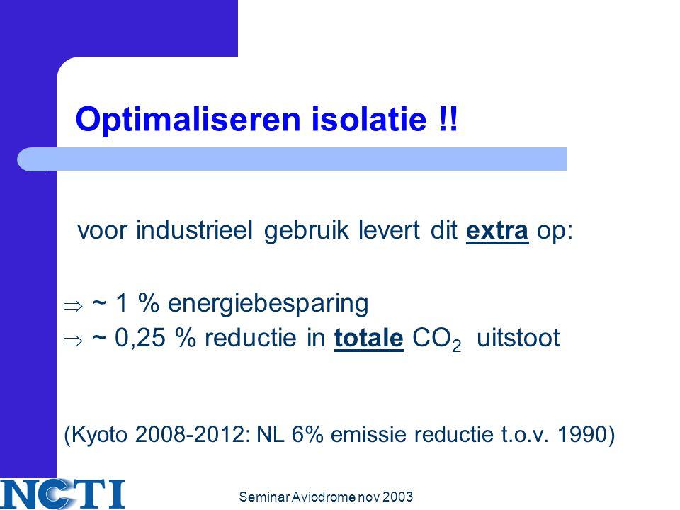Seminar Aviodrome nov 2003 Optimaliseren isolatie !.