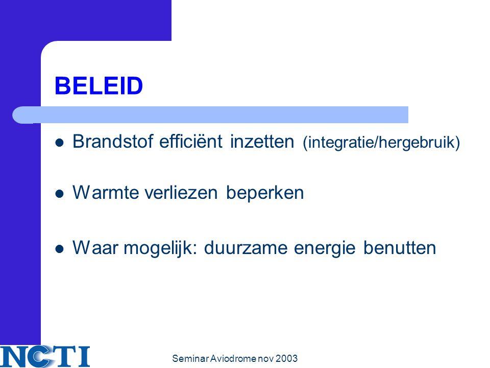 Seminar Aviodrome nov 2003 BELEID Brandstof efficiënt inzetten (integratie/hergebruik) Warmte verliezen beperken Waar mogelijk: duurzame energie benutten