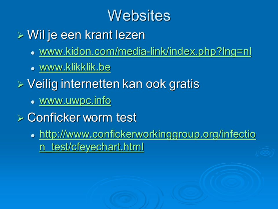 Websites  Wil je een krant lezen www.kidon.com/media-link/index.php?lng=nl www.kidon.com/media-link/index.php?lng=nl www.kidon.com/media-link/index.p