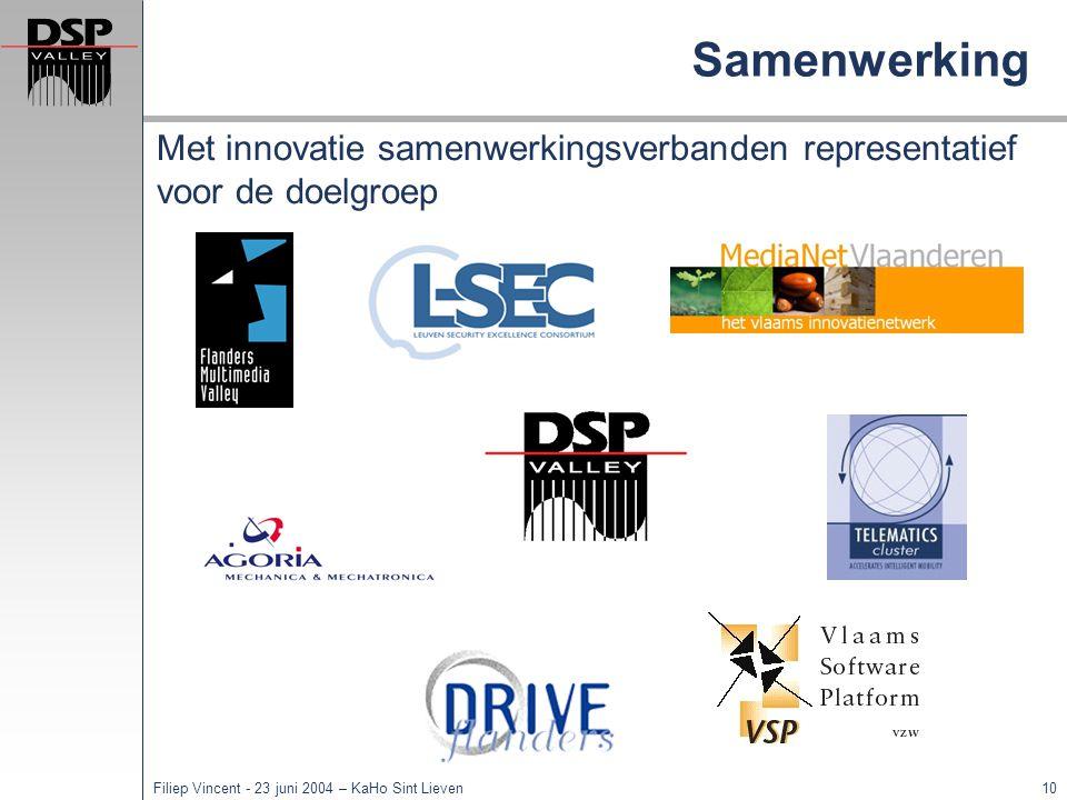 9Filiep Vincent - 23 juni 2004 – KaHo Sint Lieven Team expertise Tom Tierens Joris Maervoet Kurt Herremans VIS/TIS: Stimulering van embedded software