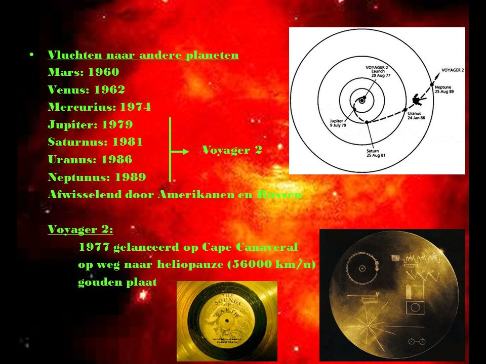 Vluchten naar andere planeten Mars: 1960 Venus: 1962 Mercurius: 1974 Jupiter: 1979 Saturnus: 1981 Uranus: 1986 Neptunus: 1989 Afwisselend door Amerika
