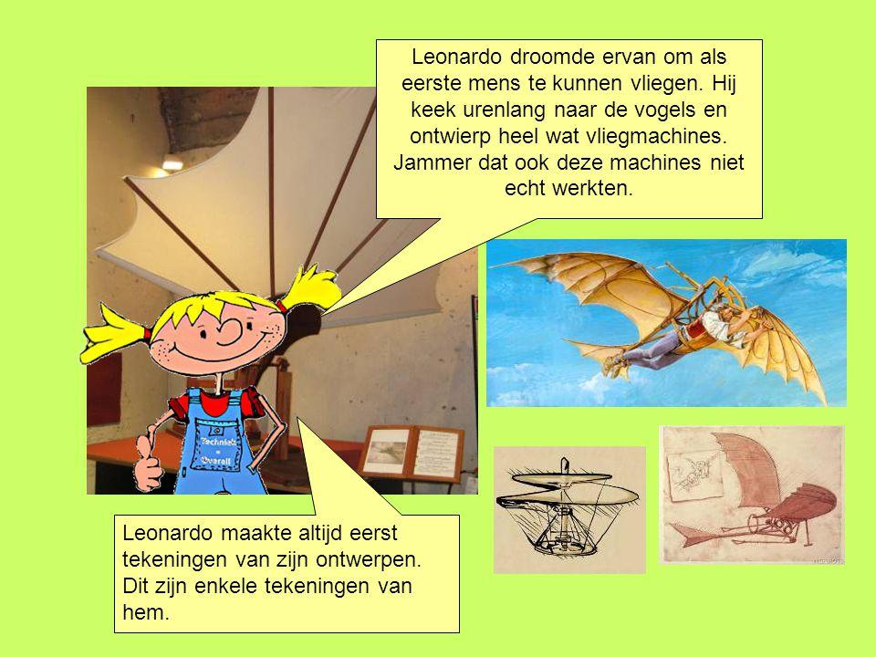 Leonardo droomde ervan om als eerste mens te kunnen vliegen. Hij keek urenlang naar de vogels en ontwierp heel wat vliegmachines. Jammer dat ook deze