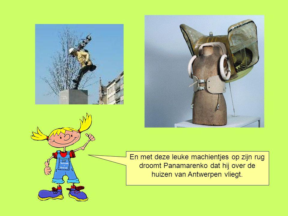 En met deze leuke machientjes op zijn rug droomt Panamarenko dat hij over de huizen van Antwerpen vliegt.