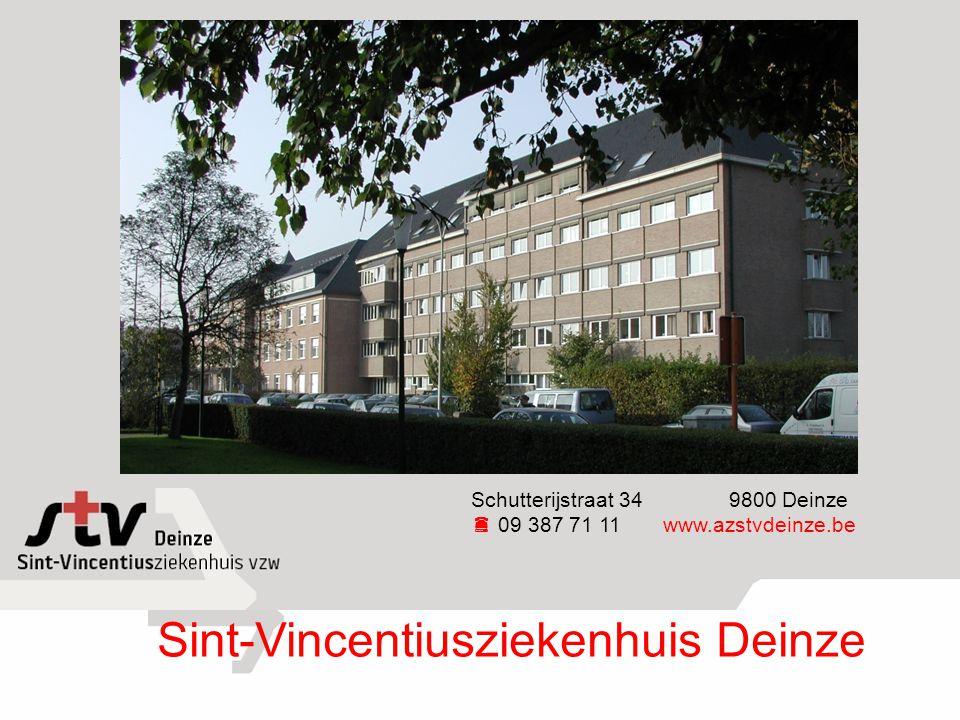 Sint-Vincentiusziekenhuis Deinze Schutterijstraat 34 9800 Deinze  09 387 71 11www.azstvdeinze.be