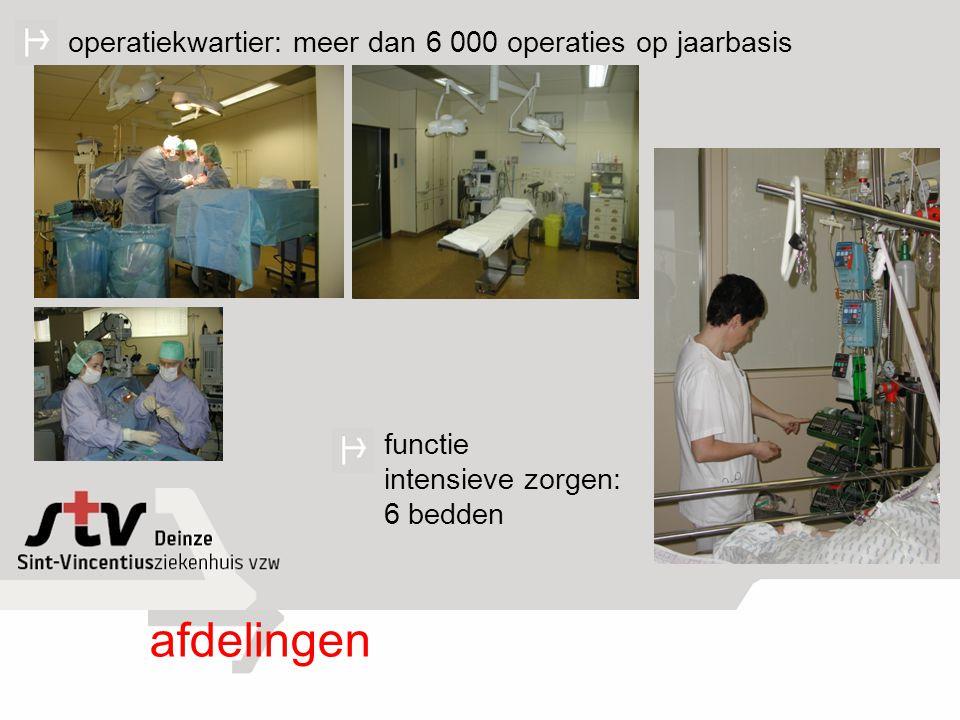 afdelingen functie intensieve zorgen: 6 bedden operatiekwartier: meer dan 6 000 operaties op jaarbasis