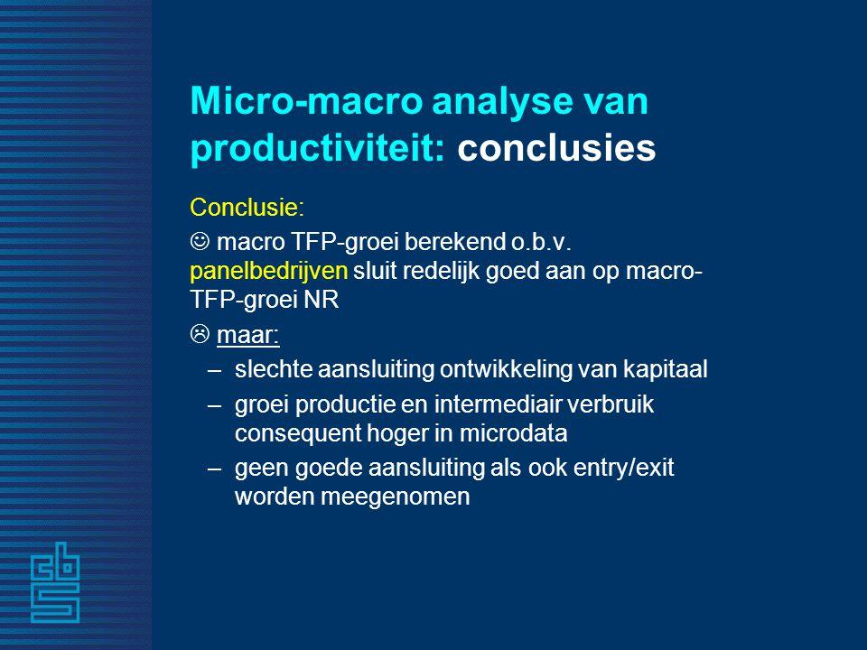 Micro-macro analyse van productiviteit: conclusies Conclusie: macro TFP-groei berekend o.b.v. panelbedrijven sluit redelijk goed aan op macro- TFP-gro