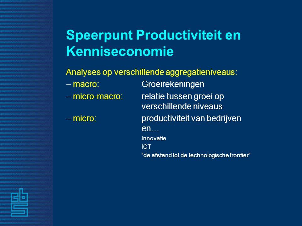Speerpunt Productiviteit en Kenniseconomie Analyses op verschillende aggregatieniveaus: – macro: Groeirekeningen – micro-macro: relatie tussen groei o