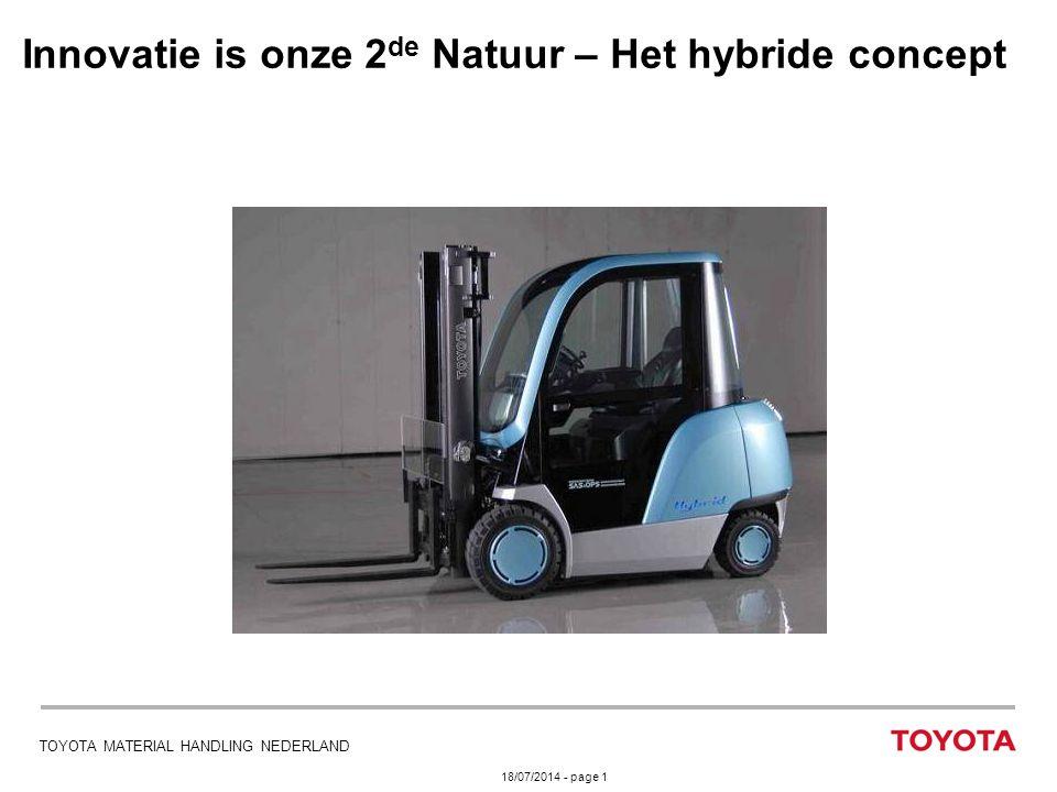 18/07/2014 - page 1 TOYOTA MATERIAL HANDLING NEDERLAND Innovatie is onze 2 de Natuur – Het hybride concept