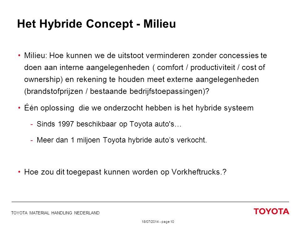 18/07/2014 - page 10 TOYOTA MATERIAL HANDLING NEDERLAND Het Hybride Concept - Milieu Milieu: Hoe kunnen we de uitstoot verminderen zonder concessies t