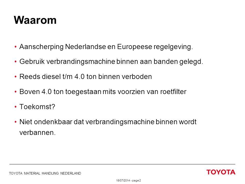 18/07/2014 - page 2 TOYOTA MATERIAL HANDLING NEDERLAND Aanscherping Nederlandse en Europeese regelgeving. Gebruik verbrandingsmachine binnen aan bande