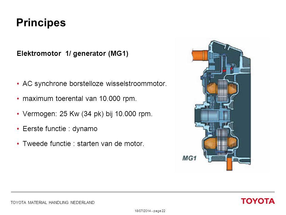 18/07/2014 - page 22 TOYOTA MATERIAL HANDLING NEDERLAND Elektromotor 1/ generator (MG1) AC synchrone borstelloze wisselstroommotor. maximum toerental