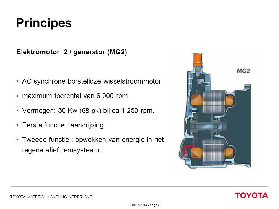 18/07/2014 - page 23 TOYOTA MATERIAL HANDLING NEDERLAND Elektromotor 2 / generator (MG2) AC synchrone borstelloze wisselstroommotor. maximum toerental