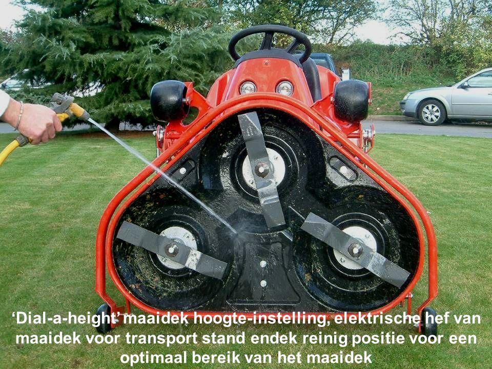 'Dial-a-height' maaidek hoogte-instelling, elektrische hef van maaidek voor transport stand endek reinig positie voor een optimaal bereik van het maaidek