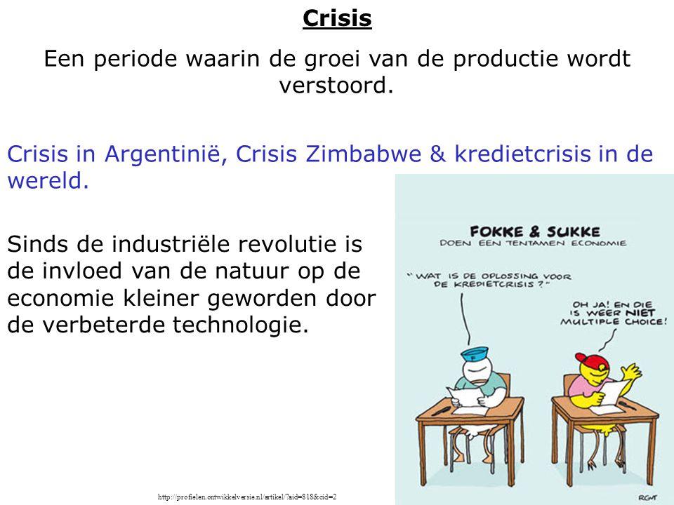 Crisis in Argentinië, Crisis Zimbabwe & kredietcrisis in de wereld. Sinds de industriële revolutie is de invloed van de natuur op de economie kleiner