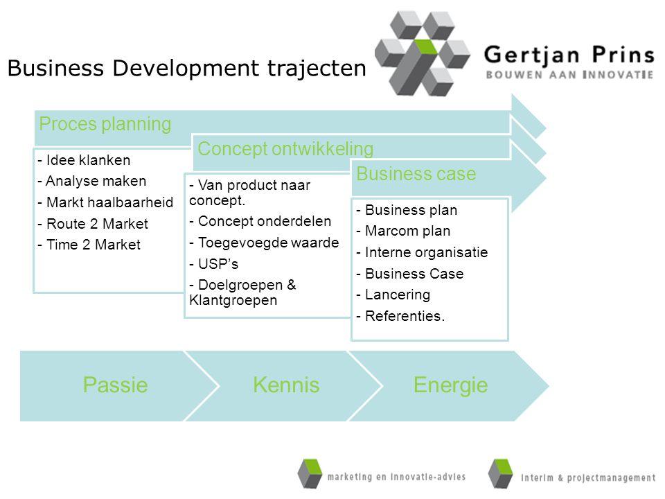 Proces planning - Idee klanken - Analyse maken - Markt haalbaarheid - Route 2 Market - Time 2 Market Concept ontwikkeling - Van product naar concept.