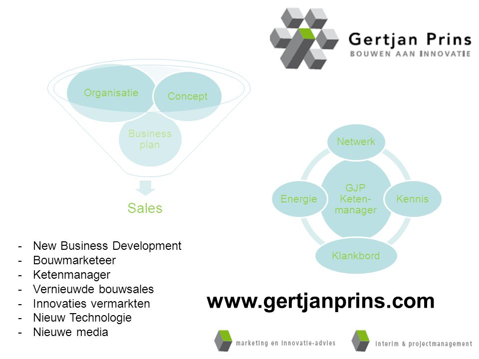 Sales Business plan Organisatie Concept GJP Keten- manager NetwerkKennisKlankbordEnergie -New Business Development -Bouwmarketeer -Ketenmanager -Verni