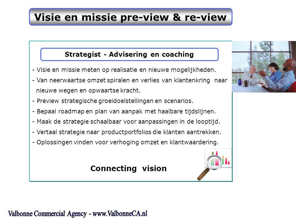 Visie en missie pre-view & re-view - Visie en missie meten op realisatie en nieuwe mogelijkheden.