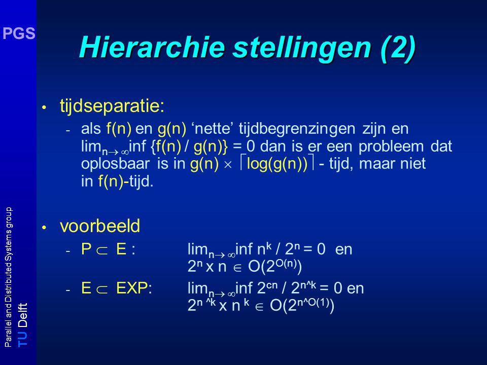 T U Delft Parallel and Distributed Systems group PGS Hierarchie stellingen (2) tijdseparatie: - als f(n) en g(n) 'nette' tijdbegrenzingen zijn en lim n  inf {f(n) / g(n)} = 0 dan is er een probleem dat oplosbaar is in g(n)  log(g(n))  - tijd, maar niet in f(n)-tijd.