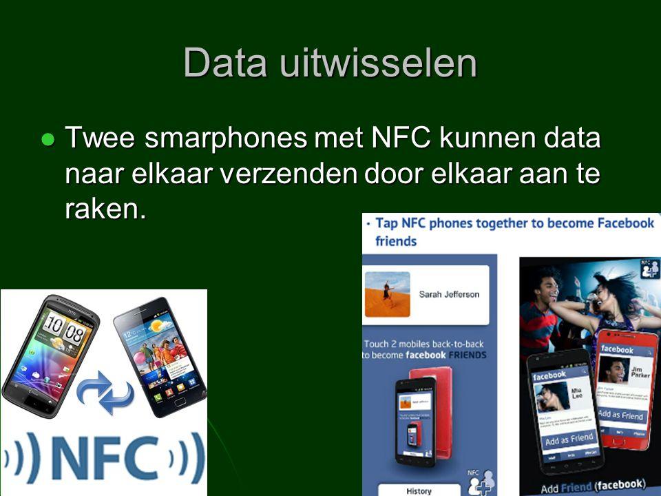 Data uitwisselen Twee smarphones met NFC kunnen data naar elkaar verzenden door elkaar aan te raken.