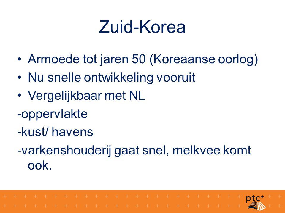 Zuid-Korea Armoede tot jaren 50 (Koreaanse oorlog) Nu snelle ontwikkeling vooruit Vergelijkbaar met NL -oppervlakte -kust/ havens -varkenshouderij gaa