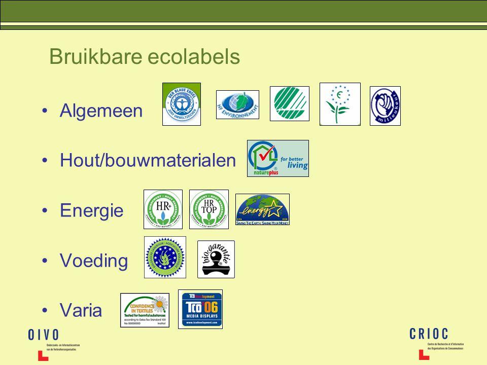 Bruikbare ecolabels Algemeen Hout/bouwmaterialen Energie Voeding Varia
