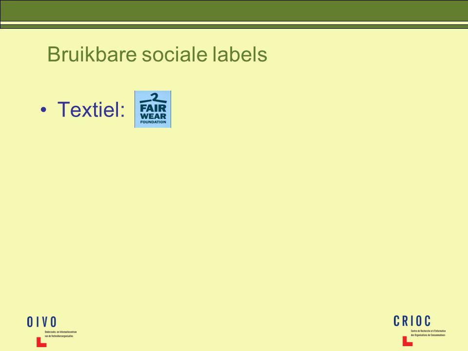 Bruikbare sociale labels Textiel: