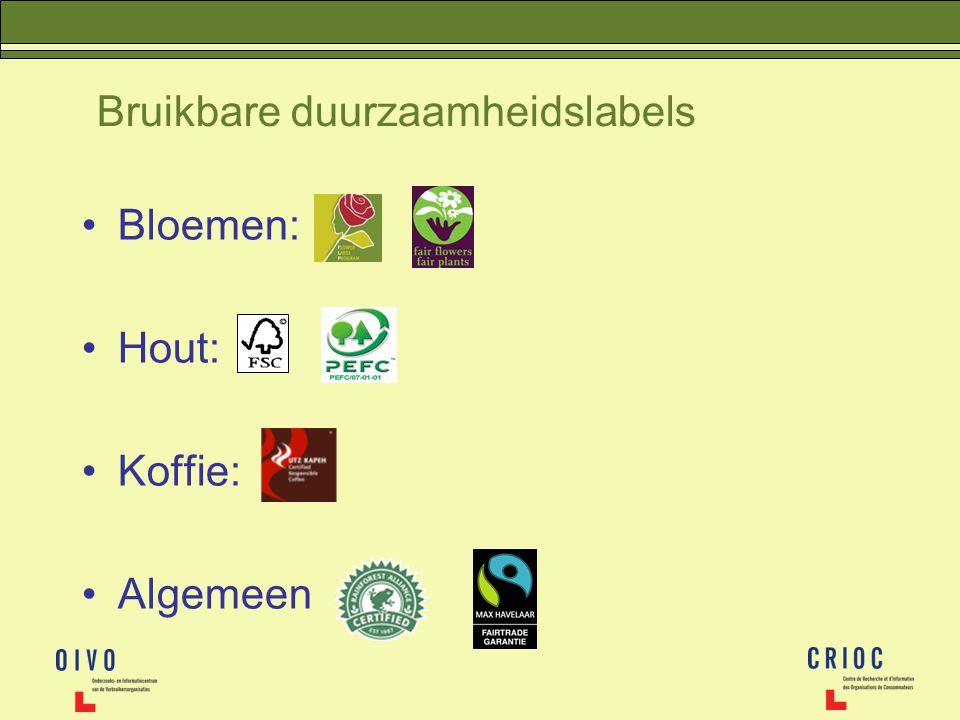 Bruikbare duurzaamheidslabels Bloemen: Hout: Koffie: Algemeen