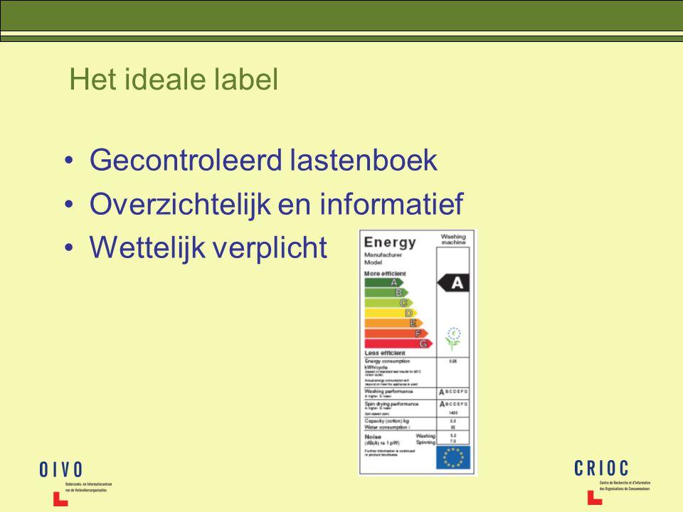 Het ideale label Gecontroleerd lastenboek Overzichtelijk en informatief Wettelijk verplicht