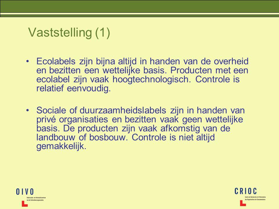 Vaststelling (1) Ecolabels zijn bijna altijd in handen van de overheid en bezitten een wettelijke basis. Producten met een ecolabel zijn vaak hoogtech