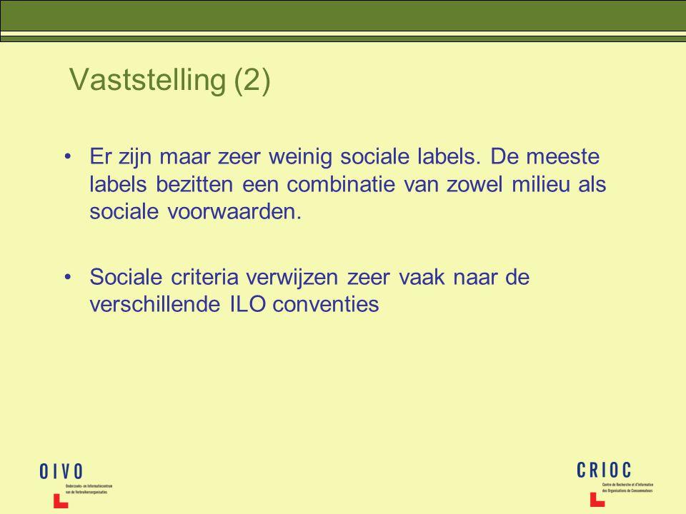 Vaststelling (2) Er zijn maar zeer weinig sociale labels. De meeste labels bezitten een combinatie van zowel milieu als sociale voorwaarden. Sociale c