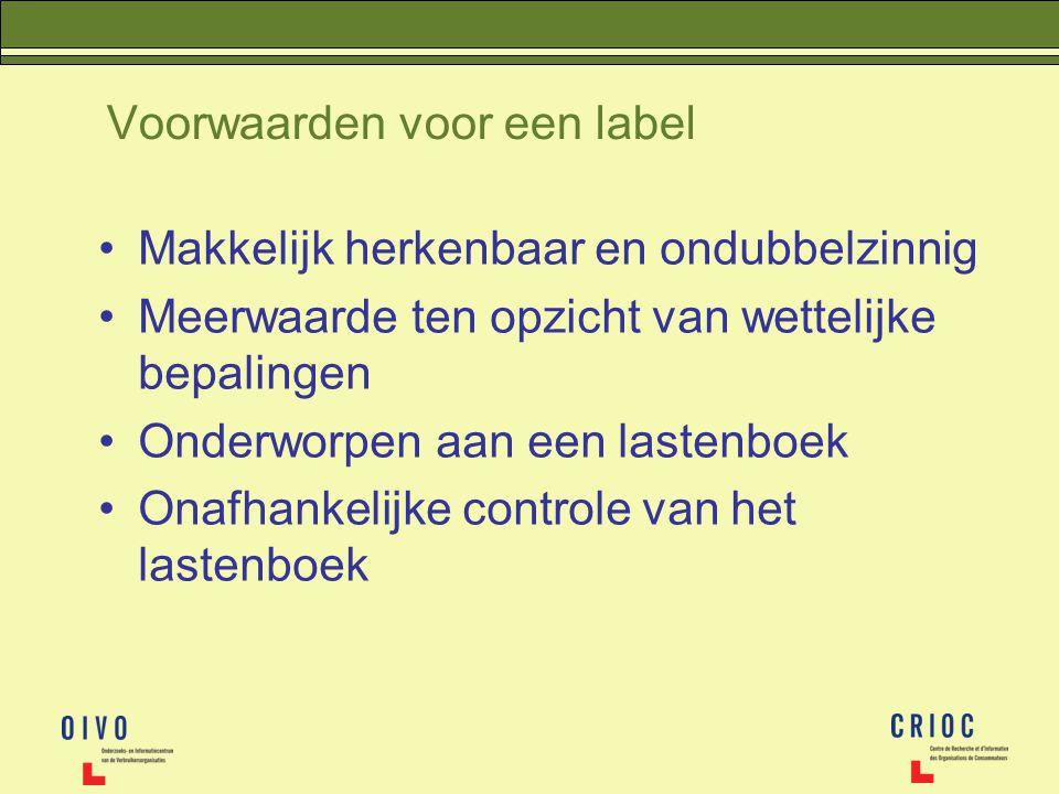 Voorwaarden voor een label Makkelijk herkenbaar en ondubbelzinnig Meerwaarde ten opzicht van wettelijke bepalingen Onderworpen aan een lastenboek Onaf