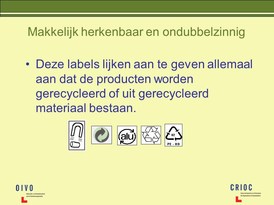 Deze labels lijken aan te geven allemaal aan dat de producten worden gerecycleerd of uit gerecycleerd materiaal bestaan.