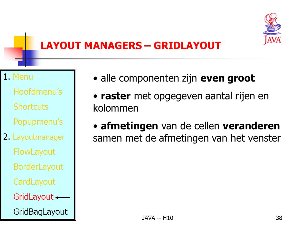 JAVA -- H1038 LAYOUT MANAGERS – GRIDLAYOUT 1. Menu Hoofdmenu's Shortcuts Popupmenu's 2.