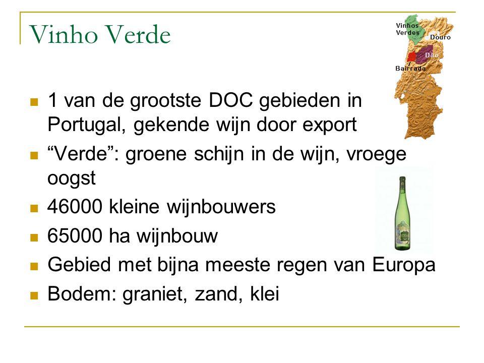 Vinho Verde 1 van de grootste DOC gebieden in Portugal, gekende wijn door export Verde : groene schijn in de wijn, vroege oogst 46000 kleine wijnbouwers 65000 ha wijnbouw Gebied met bijna meeste regen van Europa Bodem: graniet, zand, klei